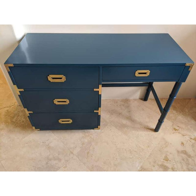 Metal 1970s Campaign Dixie Blue Gloss Desk For Sale - Image 7 of 10