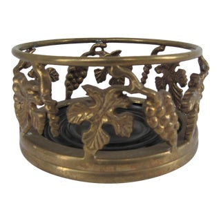 Brass and Wood Wine Bottle Holder With Grapes and Leaves For Sale