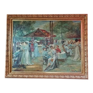 19c French Impressionist Oil on Canvas of Picnic Scene