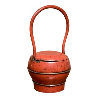 Antique Chinese Red Lacquer Covered Wedding Basket For Sale