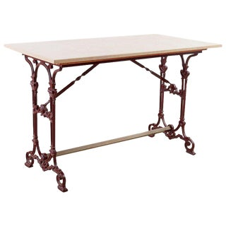 French Art Nouveau Iron and Marble Bistro Table For Sale