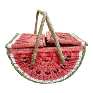 1980s Country Watermelon Picnic Basket For Sale