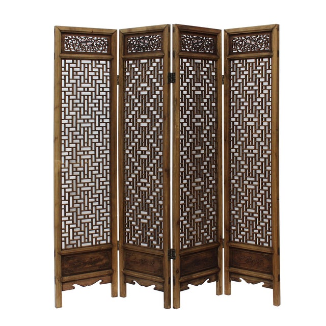 Chinese Vintage Finish Geometric Pattern Wood Panel Screen For Sale In San Francisco - Image 6 of 10