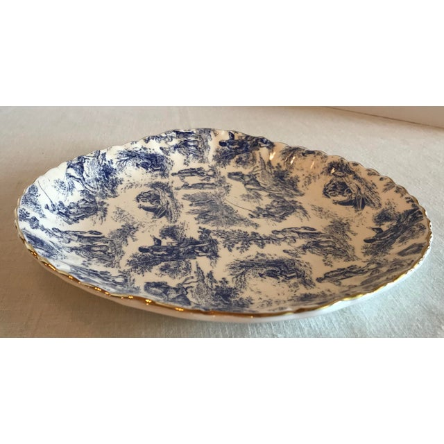 Ceramic Blue & White Staffordshire Toile Platter For Sale - Image 7 of 9