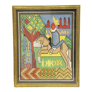 Framed Textile Portrait of a Knight on Horseback For Sale