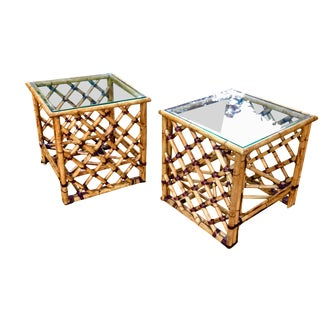 1980s Vintage McGuire Bamboo and Leather Wrapped Side Tables- A Pair For Sale