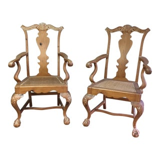 Vintage Mid Century Queen Anne Chippendale Dining Room Chairs - a Pair For Sale