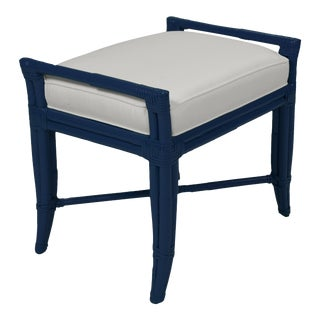 Small Malacca Bench - Navy Blue For Sale