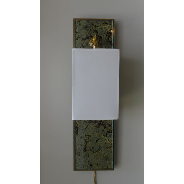 Modern Brass and Marbleized Wall Sconce V2 by Paul Marra - Image 3 of 13