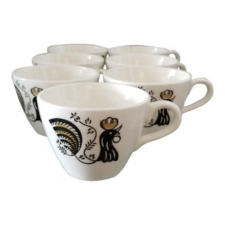 Delisting Last Days Vintage Mid-Century Black and Gold Rooster Stoneware Teacups - Set of 7 For Sale