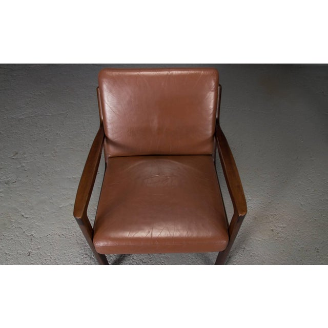 Animal Skin Pair of Senator Chairs by Ole Wanscher in Brown Leather For Sale - Image 7 of 9