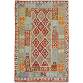 "Hand Knotted Traditional Design Uzbak Wool Kilim Rug-4'10"" X 6'2"" For Sale"