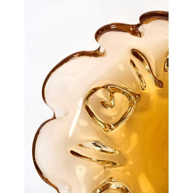 Circa 1950 Murano Glass Amber Bowl For Sale - Image 9 of 10
