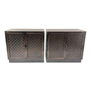 Pair of Basketweave Modern Cabinets For Sale