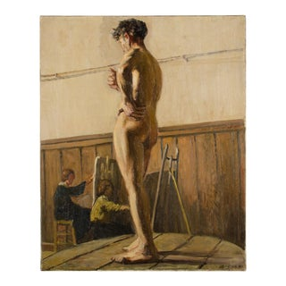 19th Century Portrait of a Nude Male Study Oil Painting by Louis Henri Revillon For Sale