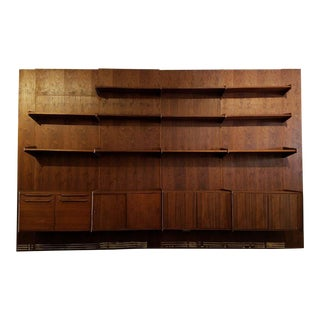 Mid-Century Vintage Massive Walnut Wall Unit For Sale