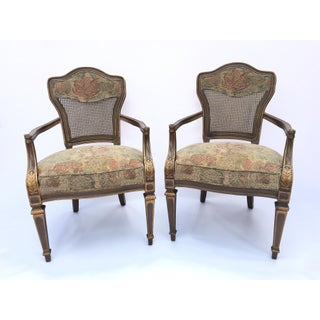 Heritage Cane Back Floral Tapestry Arm Chairs - a Pair Preview