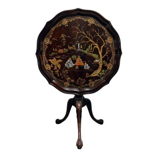 Mahogany Tilt Top Pie Crust Table W Ball in Claw Feet & Custom Handpainted Chinoiserie For Sale