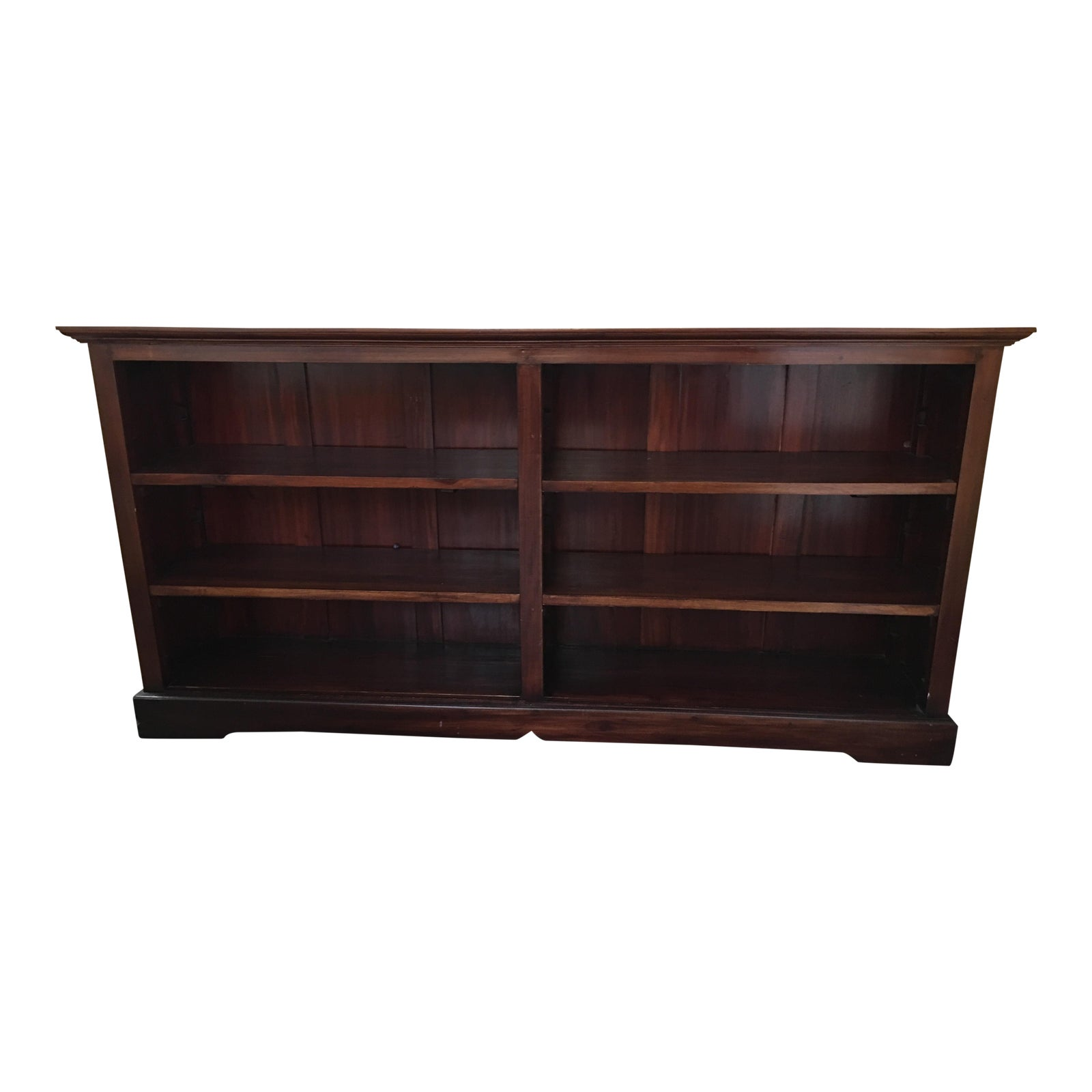 Traditional long low bookcase shelf chairish