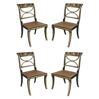 Regency Ebonized and Gilt Wood Chairs - Set of 4 For Sale