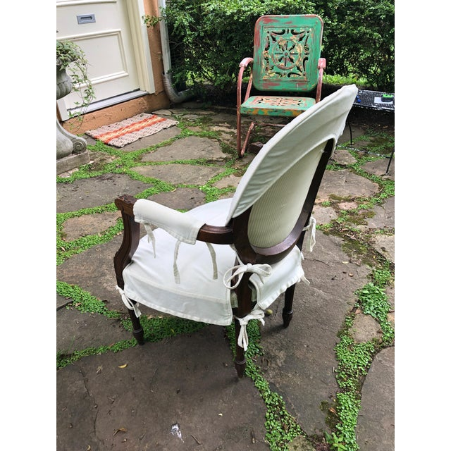 Carved Walnut and Upholstered French Armchair Bergere For Sale - Image 4 of 13