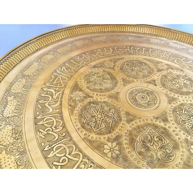 Indo-Persian Handcrafted Decorative Hammered Brass Tray For Sale - Image 11 of 13