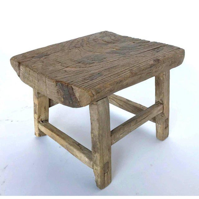 Brown Rustic Japanese Elm Stool or Small Table For Sale - Image 8 of 8