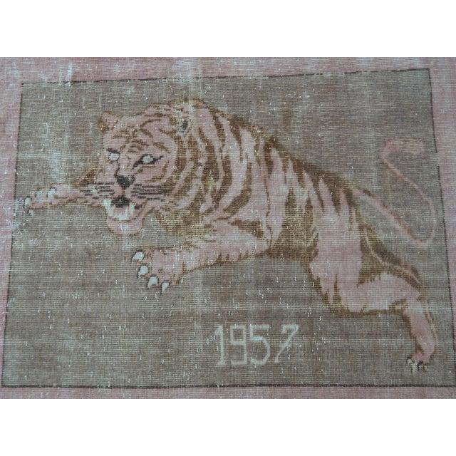 Tan 1950's Vintage Turkish Lion Pictorial Rug 3′1″ × 4′1″ For Sale - Image 8 of 12