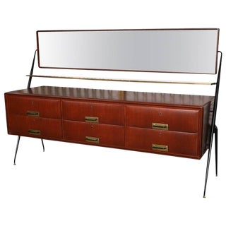 Pair of Italian Modern Mahogany, Brass and Iron Sideboards, Silvio Cavatorta For Sale