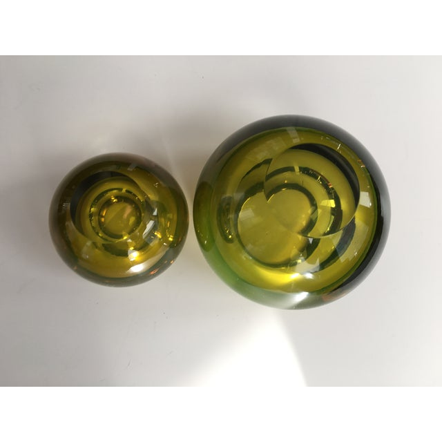 Chartreuse Glass Tea Light Bowls - A Pair - Image 3 of 6