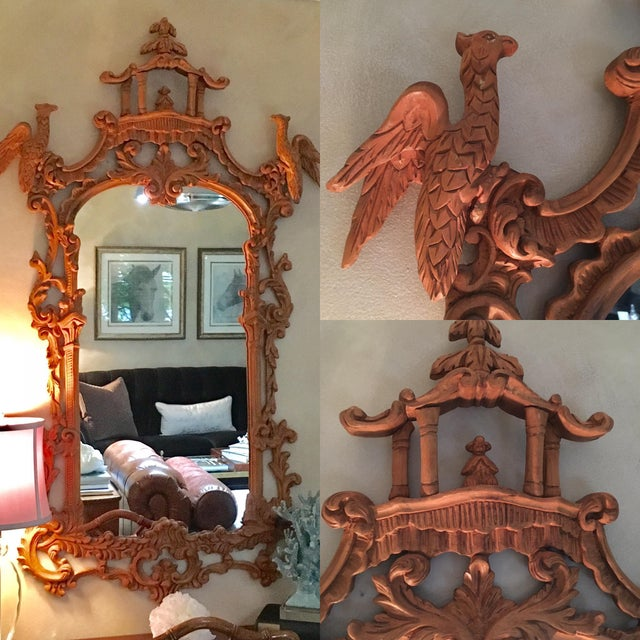 Brown Chinese Chippendale Style Pagoda Mirror With Hoho Birds For Sale - Image 8 of 9