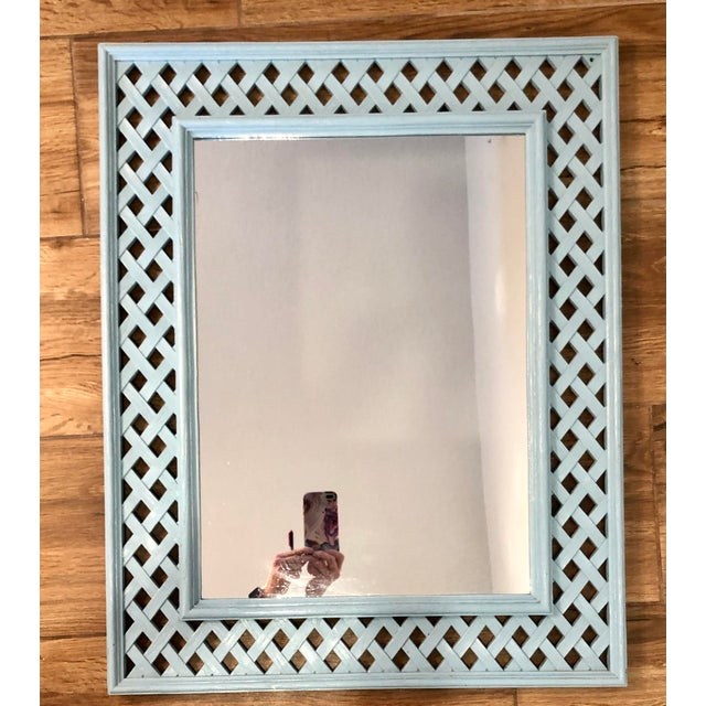 Boho Chic 1970s Vintage Lattice Framed Fretwork Palm Beach Hollywood Regency Syroco Mirror For Sale - Image 3 of 4