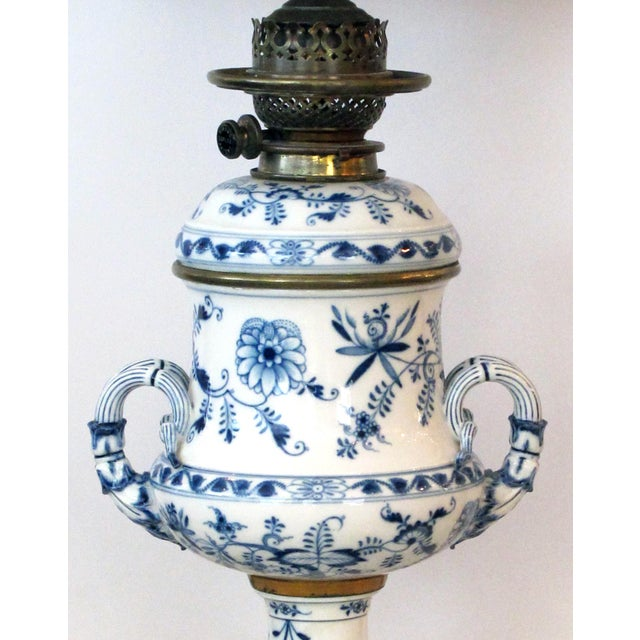 Traditional Meissen Blue Onion Pattern Oil Lamps by Whiteley's Dept. Store, London - a Pair For Sale - Image 3 of 10