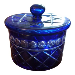 Cobalt Blue Bohemian Cut Crystal Cache Pot For Sale