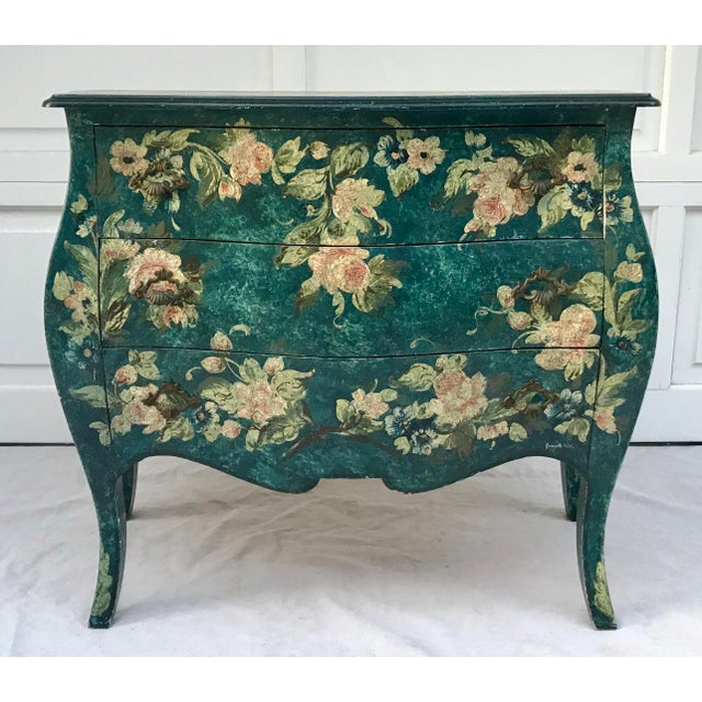 1970s Vintage French Hand-Painted Bombe 3-Drawer Chest For Sale - Image 10 of 10