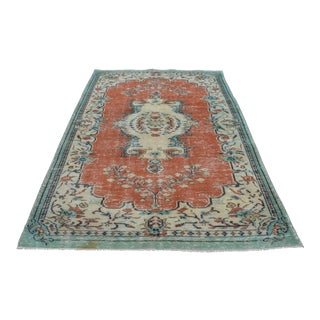 "Vintage Overdyed Turkish Oushak Rug - 5'5"" x 8'11"" For Sale"