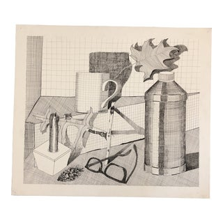 Original Vintage Still Life Pen & Ink Drawing 1970's For Sale