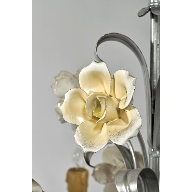 Mid Century Modern Italian Tole Floral Eight Light Chandelier For Sale - Image 4 of 13