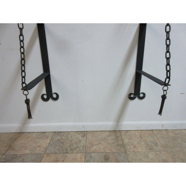 Black Vintage Gothic Wrought Iron Curio Display Shelf Brackets - a Pair For Sale - Image 8 of 11