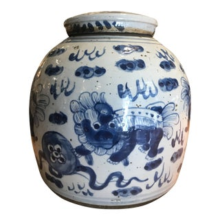 Blue & White Jar With Foo Lions For Sale