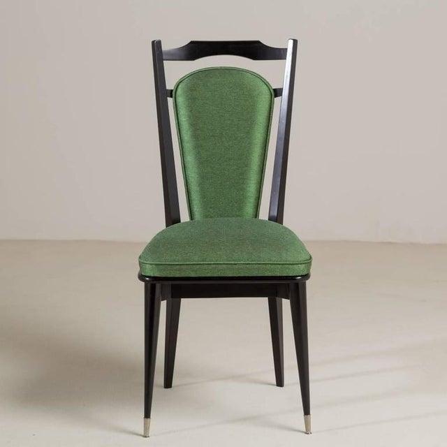 Set of Six Italian Ebonized Framed Dining Chairs, 1950s - Image 5 of 7