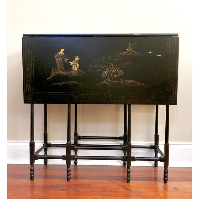 1980s Chinoiserie Baker Furniture Black Lacquer Gate Leg Side Table For Sale - Image 11 of 11