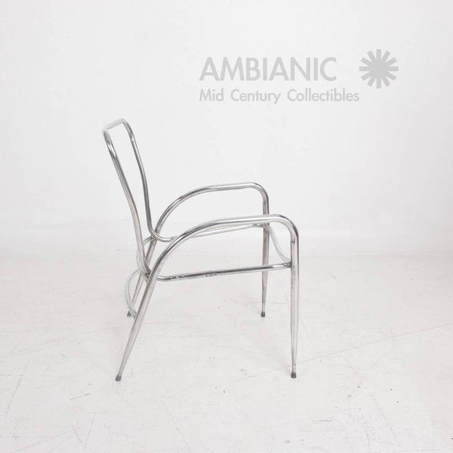 1960s Pair of Sculptural Brown Jordan Aluminum Patio Chairs After Walter Lamb For Sale - Image 5 of 10