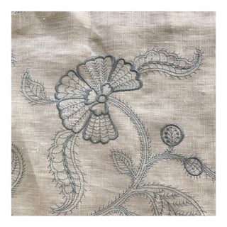 Embroidered Linen Fabric- 1 1/2 Yards For Sale