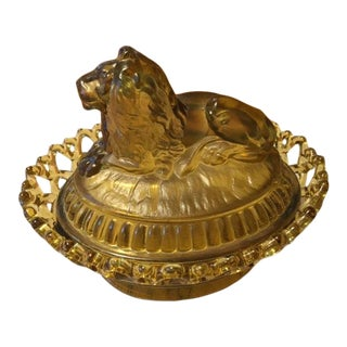 Antique Amber Imperial Glass Covered Dish With Lion For Sale