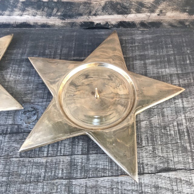Vintage Star Shape Solid Brass Pillar Candle Holders - a Pair For Sale - Image 4 of 9