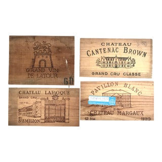 Vintage Wood Crates Panels of the Best French Wines: Chateau De Latour, Margaux, Cantenac, Laroque St Emilion - Set of 4