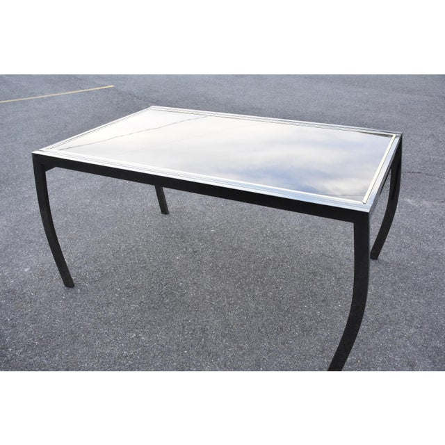 Contemporary Dia Gunmetal Chrome Modern Dining Table For Sale - Image 3 of 11