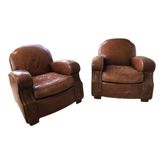 1920s French Vintage Leather Club Chairs - a Pair