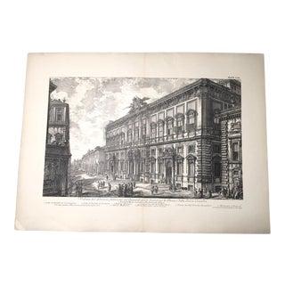 """Antique Architectural Lithograph After Piranesi, """"Veduta Del Palazzo Fabbricato Sul Quirinale"""" For Sale"""